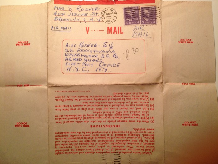 Jan 26, 1944 V-Mail Back