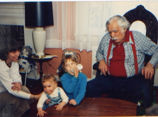 Grandpa Alex, my brother Zach, my mother and me in new Jersey.